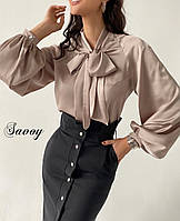 Стильная шелковая женская блузка с длинным рукавом. Р-р: 42-44, 44-46. Цвет: чёрный, темно-синий, беж, молоко