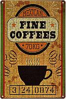 """Металлическая / ретро табличка """"Мексиканский Изысканный Кофе / Mexican Fine Coffees"""""""
