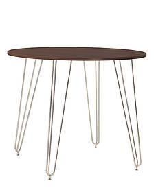 Стол обеденный круглый Aller H18 каркас chrome, столешница ДСП Орех Тиеполо Ø90 (Новый Стиль ТМ)
