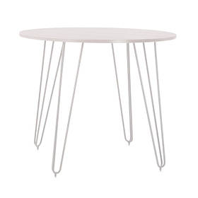 Стол обеденный круглый Aller H18 каркас white, столешница ДСП Белая Ø90 (Новый Стиль ТМ)