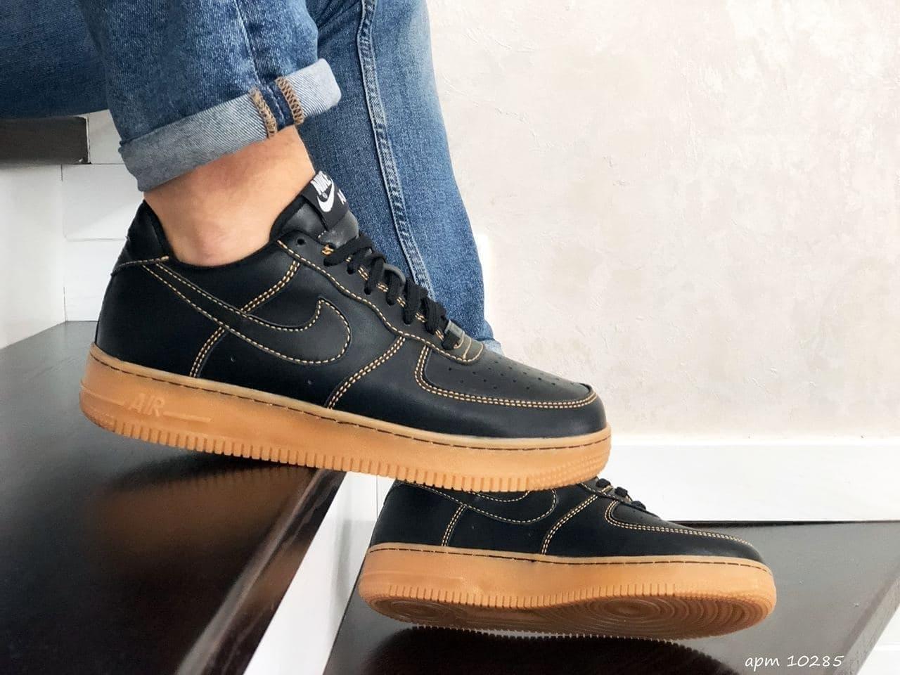Кросівки Air Force Af 1 чорні з коричневим