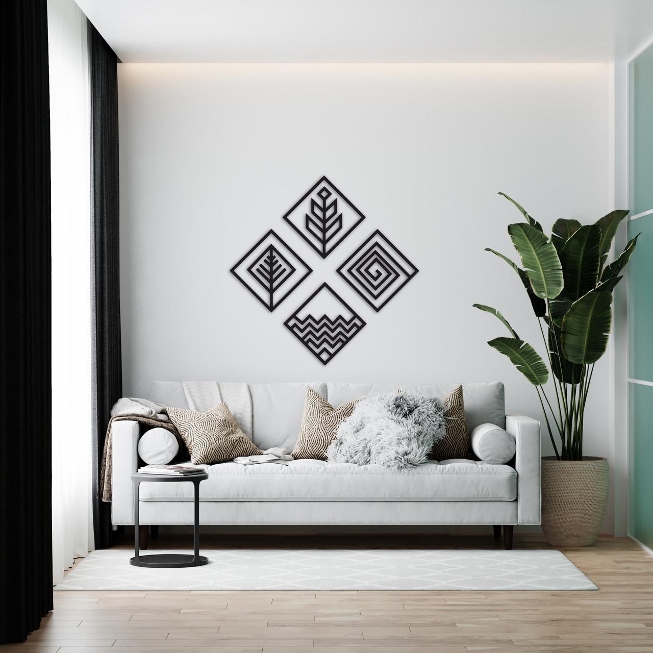 4 стихии – геометрический настенный декор