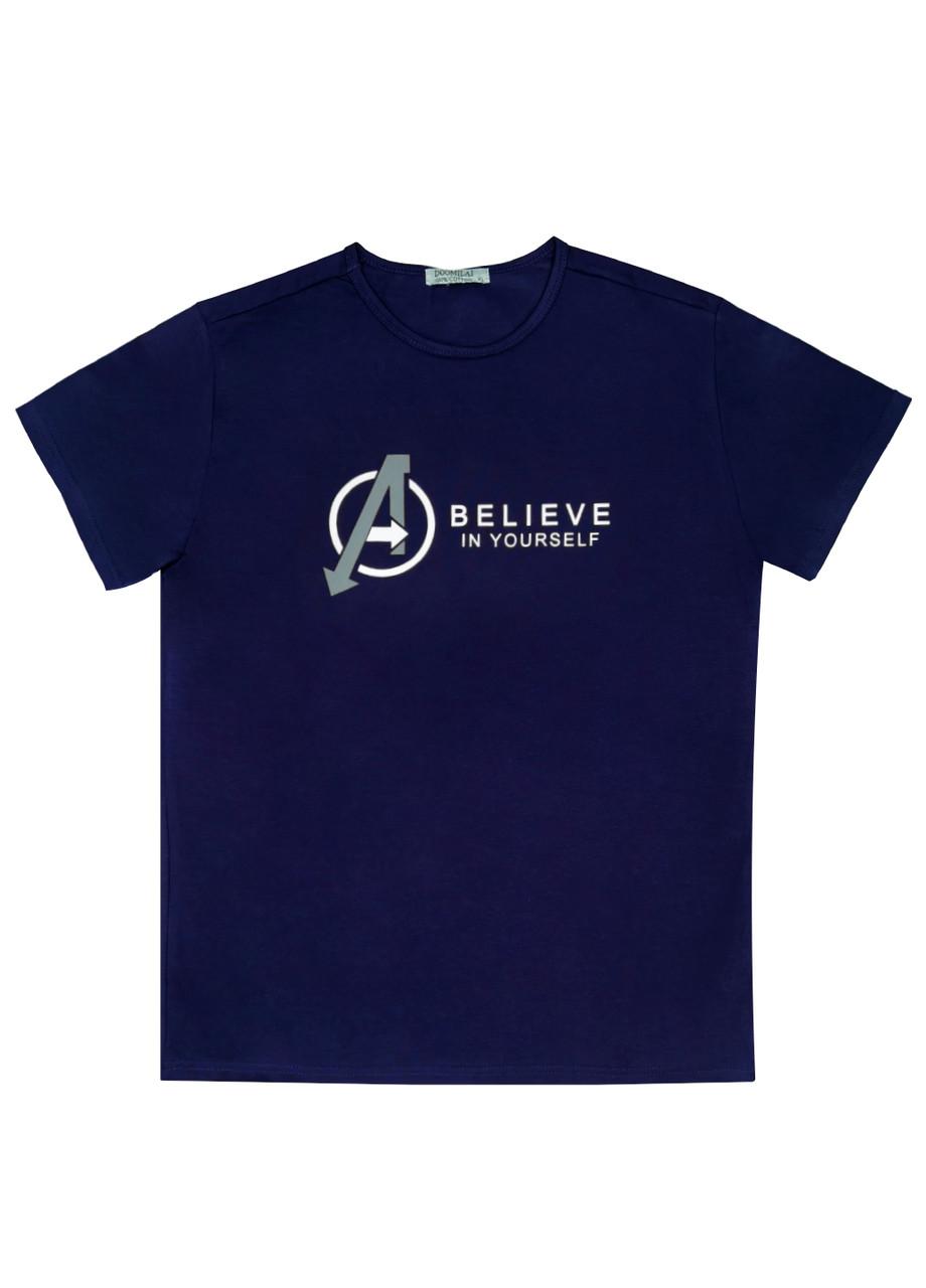 """Чоловіча футболка 100% Бавовна Марка """"DOOMILAI"""" Арт.1862-C (синя)"""