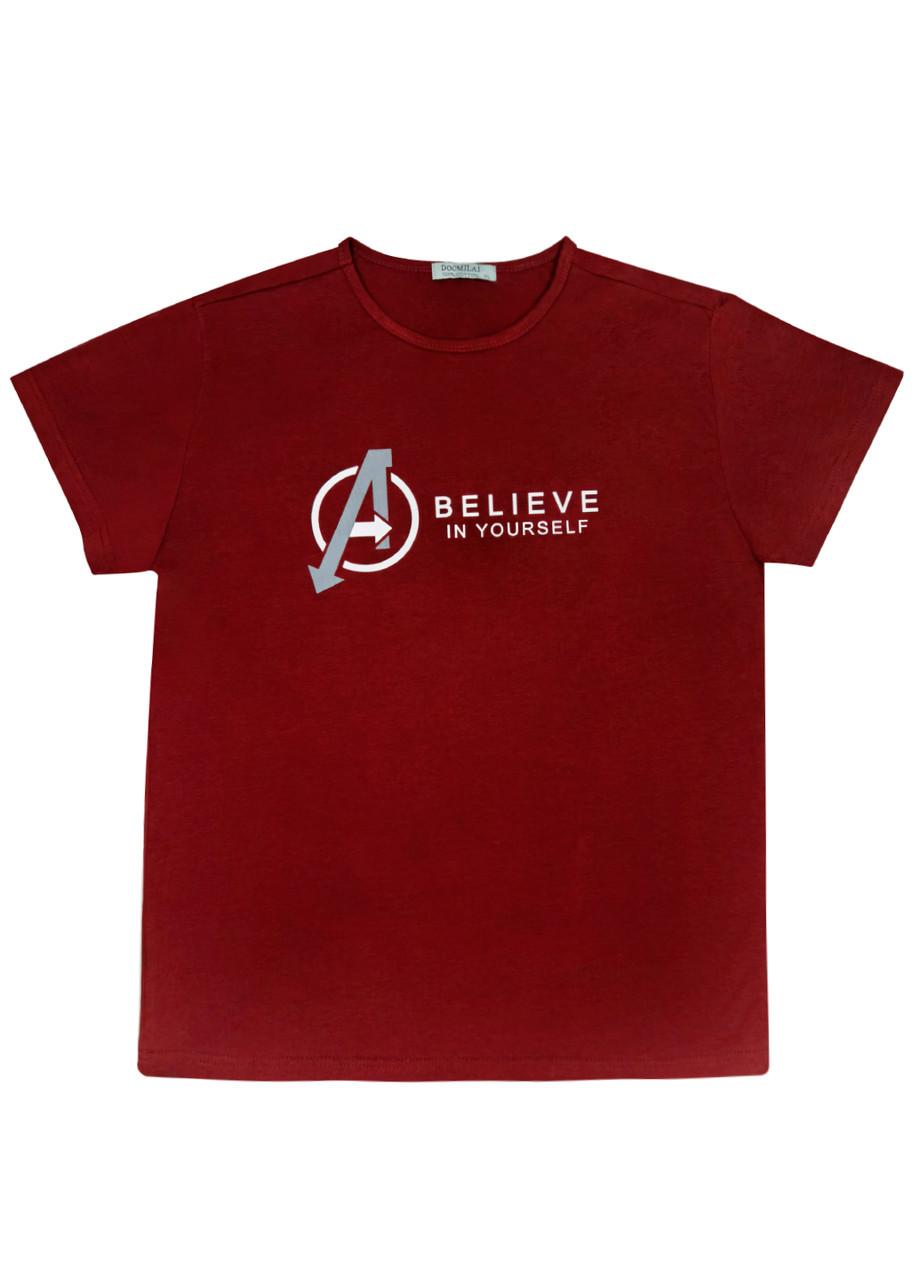 "Мужская футболка 100% Хлопок Марка ""DOOMILAI"" Арт.1862-E (бордовый)"