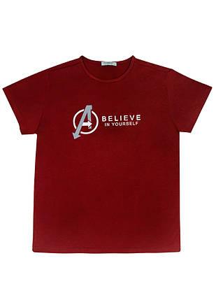 "Мужская футболка 100% Хлопок Марка ""DOOMILAI"" Арт.1862-E (бордовый), фото 2"