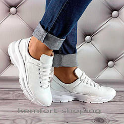 Женские кроссовки на шнуровке кожаные, белые  V 1351