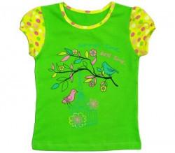 """Футболка для девочки """"Птички"""", рост 116, цвет зеленый"""