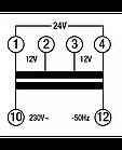 Понижающий трансформатор 230/12х2 40Вт TDTR040 на DIN-рейку, фото 3