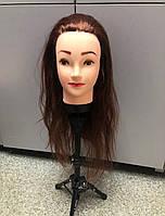 Голова для причесок, плетения искусственные волосы шатенка, манекен для парикмахера, учебная болванка