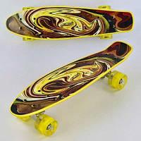 Скейт Penny board Р 13609 с принтом колеса світяться дека 55 см