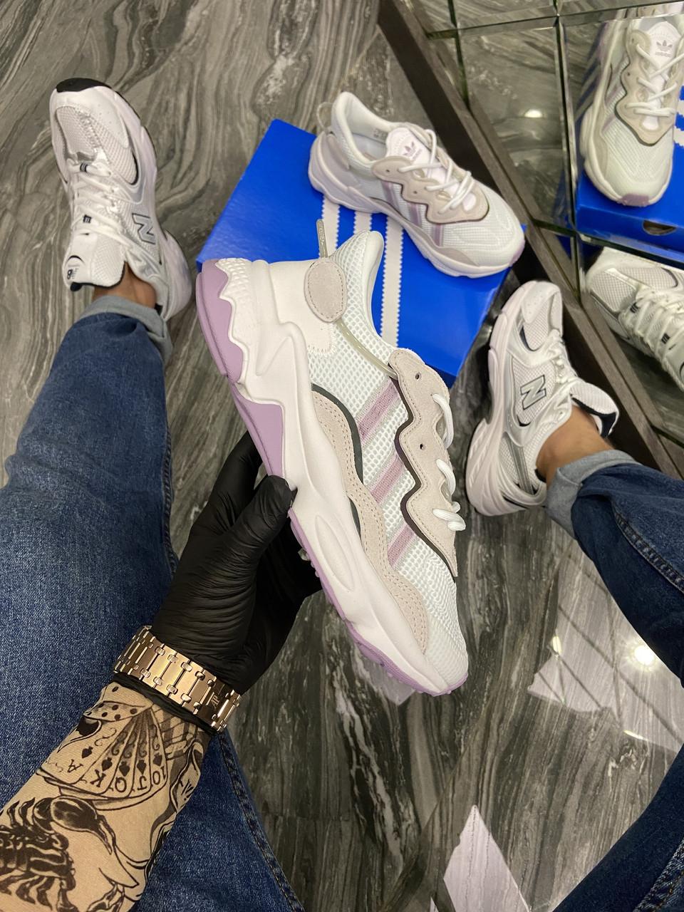 Ad!id@s, крос, обувь, взуття, sneakers, шузы, Ozweego White Violet (Белый)