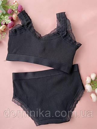 Потрясающий черный комплект нижнего женского белья, роскошный бесшовный топ с нежными трусиками, фото 2