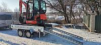 Причіп оцинкований для екскаватора, навантажувача, міні трактора 3000х1500х300 з гальмівною системою, фото 1