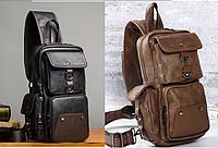 Мужской черный коричневый кожаный рюкзак ранець барсетка. Мужская сумка на плечо