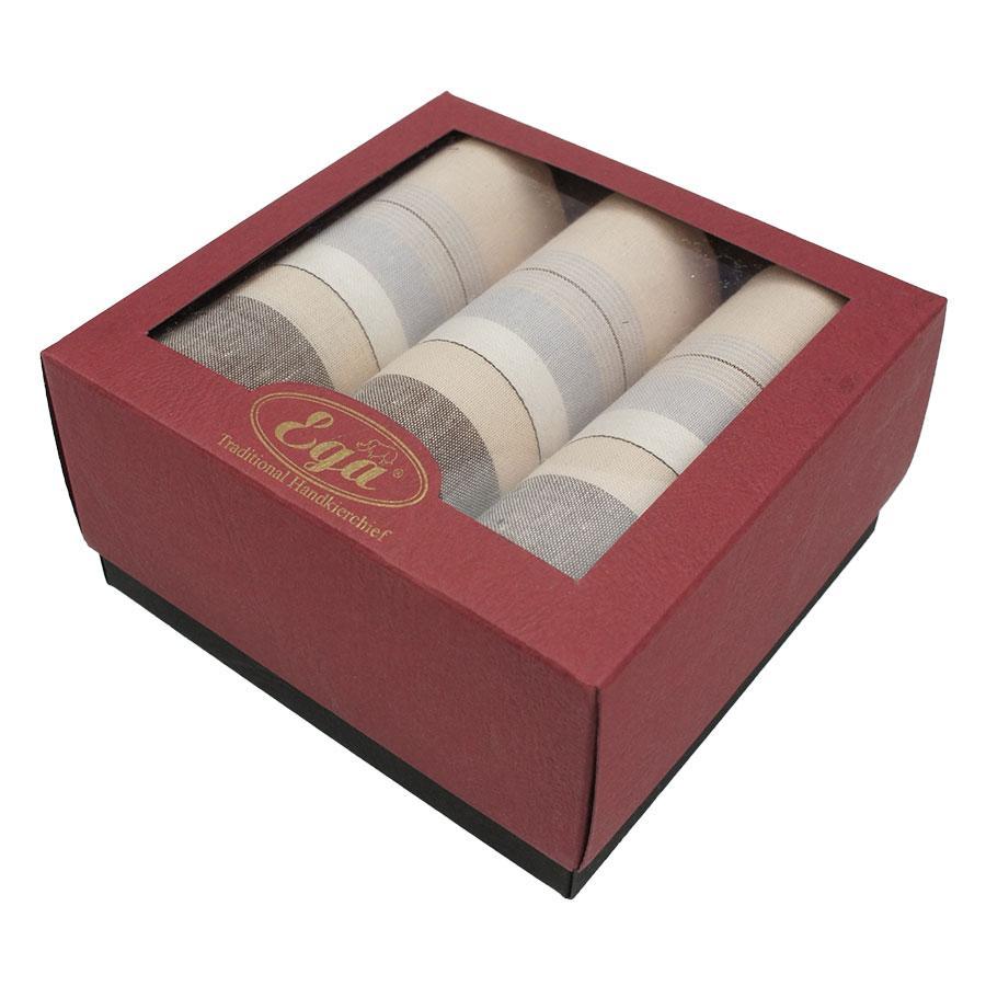 Набір носових хусток в подарунковій упаковці для чоловіків Ega 3 шт CH-857/3 З