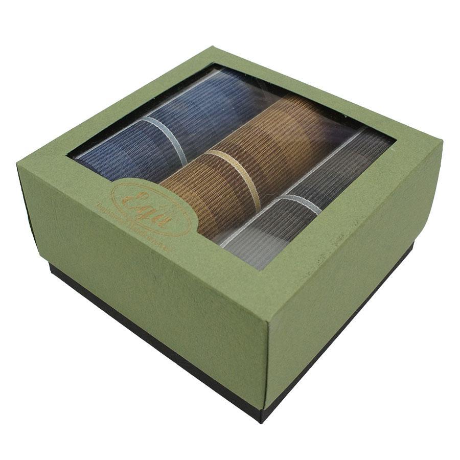 Набір темних різнокольорових носових хусток в подарунковій упаковці для чоловіків Ega 3 шт CH-857/3 З