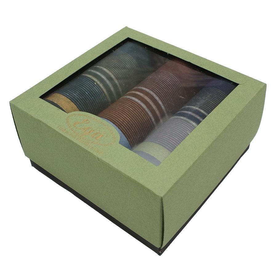 Набір бавовняних носових хусток в подарунковій упаковці для чоловіків Ega 3 шт CH-857/3 З