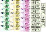 Вафельная картинка Доллары/Евро  | Съедобные картинки Деньги | Деньги вафельные картинки Формат А4, фото 5