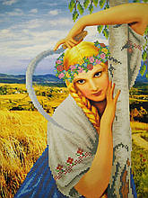 Вышивка бисером, Канва схемы картины Деревенская девушка