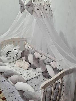 Набор постельного белья в кроватку для новорожденного Комплект постельного белья с балдахином и подушками