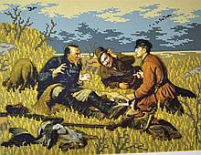 Вышивка бисером, Канва схемы картины Охотники на привале ПЕТРОВ