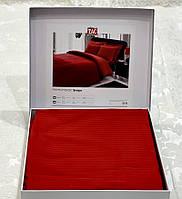 Комплект постільної білизни ТАС Premium Stripe Kirmi страйп сатин 220-200 см червоний