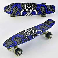 Скейт Penny board F 6510 с принтом колеса світяться дека 55 см