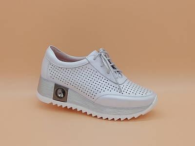 Летние кожаные туфли кроссовки на танкетке. Сникерсы. Erisses. Маленькие размеры ( 33 - 35 ).