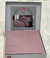 Комплект постільної білизни ТАС Premium Stripe Lila страйп сатин 220-200 см ліловий