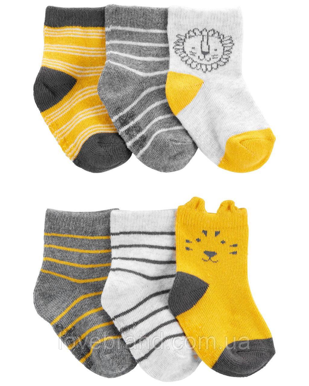 """Набор из 6 пар носочков  для мальчика Carter's носки детские для новорожденных картерс """"Леопард"""""""
