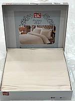 Комплект постільної білизни ТАС Premium Stripe Krem страйп сатин 220-200 см кремовий
