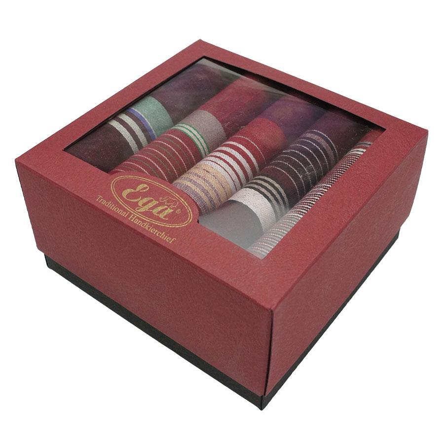 Набір бордових  носових хусток в упаковці для чоловіків  Ega 5 шт CH-943/5 С