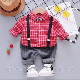 Ошатний костюм двійка для хлопчика з підтяжками 3 роки червоно-сірий