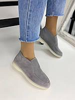 Ботинки лоферы LUX качества из итальянской серой замши, фото 1