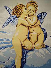 Вышивка бисером, Канва схемы картины репродукция А.В.Бугро Первый поцелуй