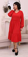 Красивое женское платье в красном цвете, размер 50,52,54,56