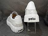 Женские кожаные белые кроссовки, фото 2