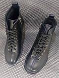 Жіночі шкіряні чорні черевики зі шнурівкою, фото 2