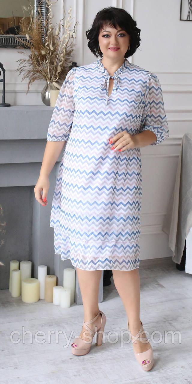 Жіноче плаття з шифону в розмірі 52,54,56,58