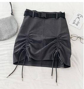 Стильная женская юбка с поясом и затяжками 42-44 р