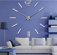 Настінні 3D годинник великі White велика стрілка 39 см, фото 1