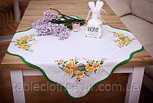 Салфетка Великодня 86-86 «Пташки» Зелений візерунок Біла