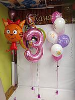 """Большой набор шаров с гелием №21 """"Карамелька с друзьями и циферкой"""""""