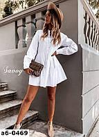 Женское стильное свободное платье с длинным рукавом 2 цвета
