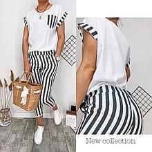 Стильный легкий натуральный льняной костюм женский для прогулок футболка и брюки