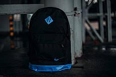 Рюкзак кож.дно черный голубое дно