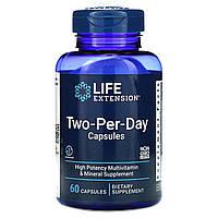 Вітаміни і мінерали Two-Per-Day 60 капсул для прийому двічі в день, Life Extension