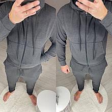 Весенний мужской спортивный костюм на молнии с капюшоном черный, Меланж, Графит