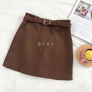 Стильная твидовая юбка с ремешком и карманами 42-44 р