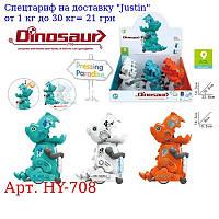 Заводная игрушка HY-708 динозавр 14см,  ездит,  9шт (3цвета) в дисплее,  30-15-32см